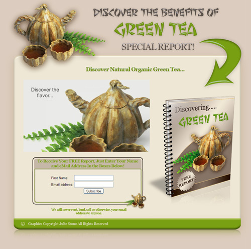 Product picture The Benefit of Green Tea -squeeze page + Free Report-